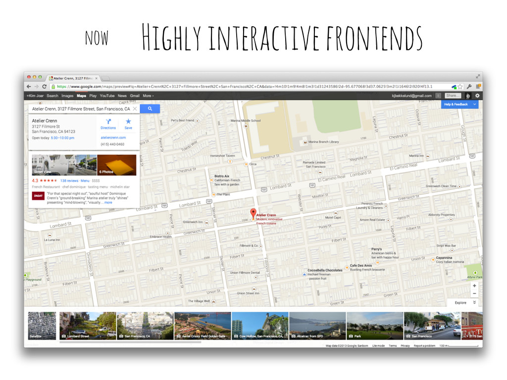 Highly interactive frontends now