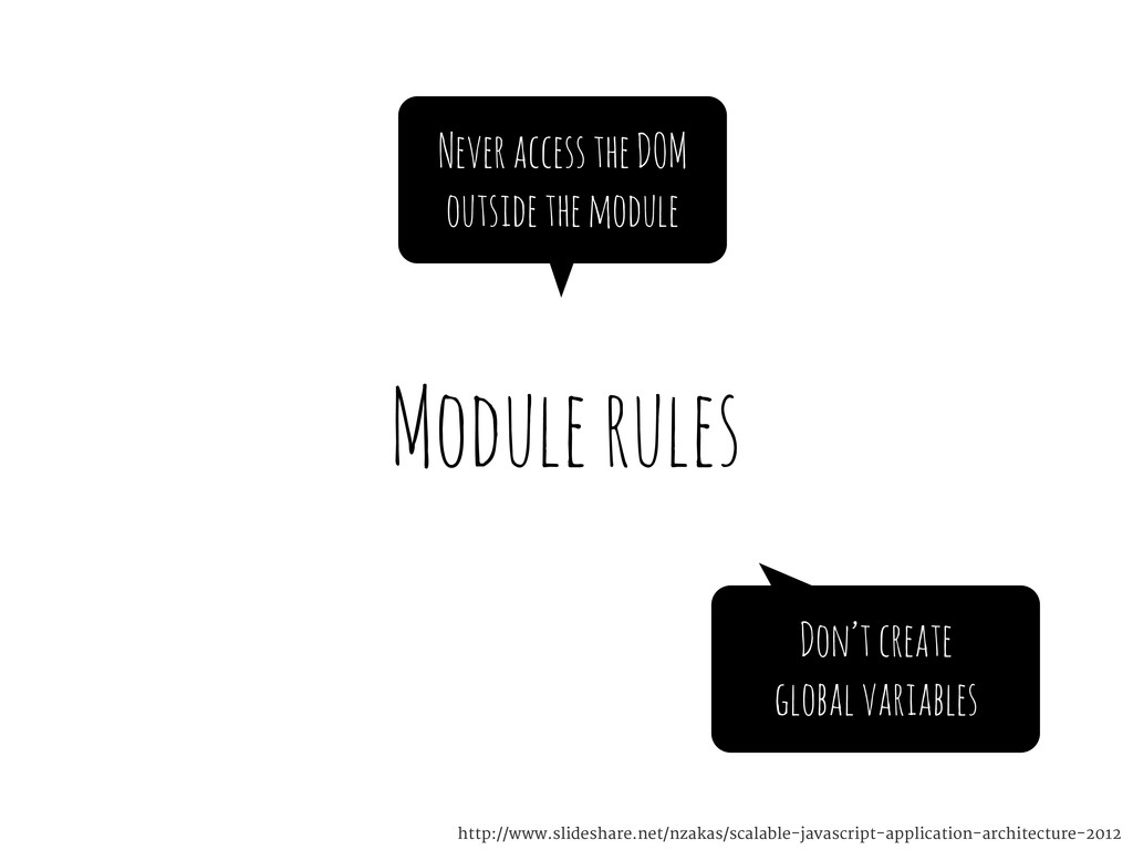 Module rules Never access the DOM outside the m...