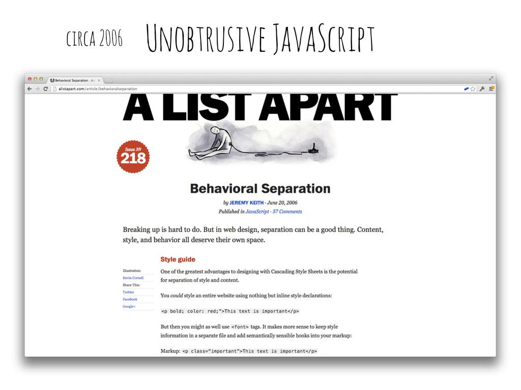 Unobtrusive JavaScript circa 2006