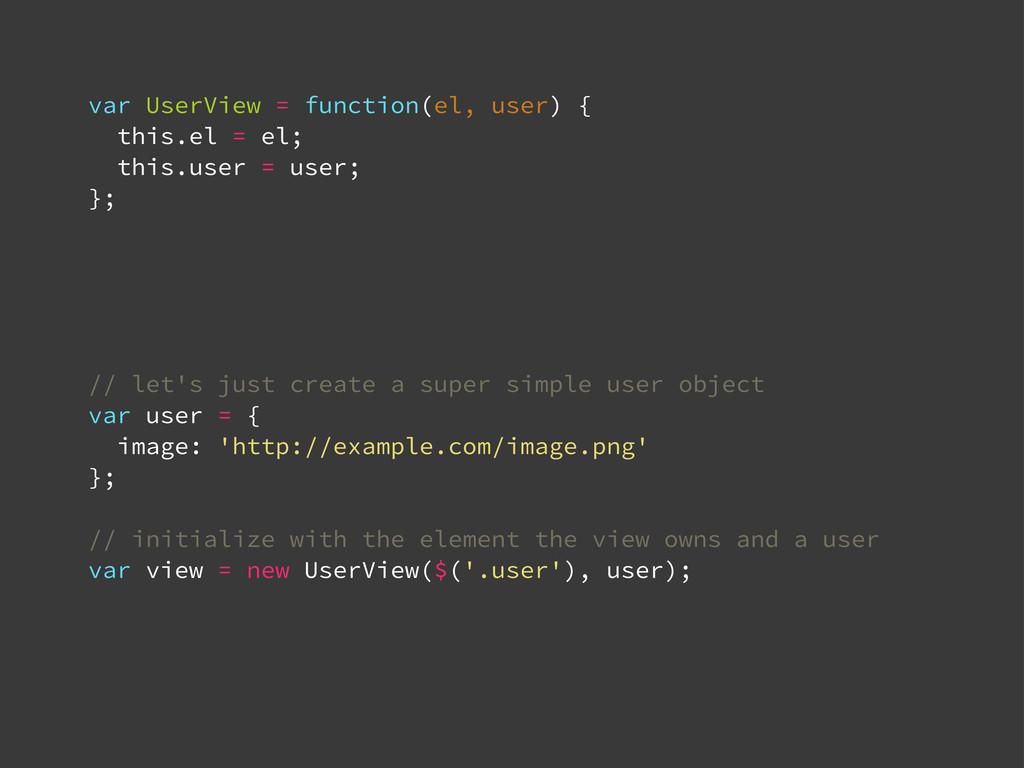 var UserView = function(el, user) { this.el = e...