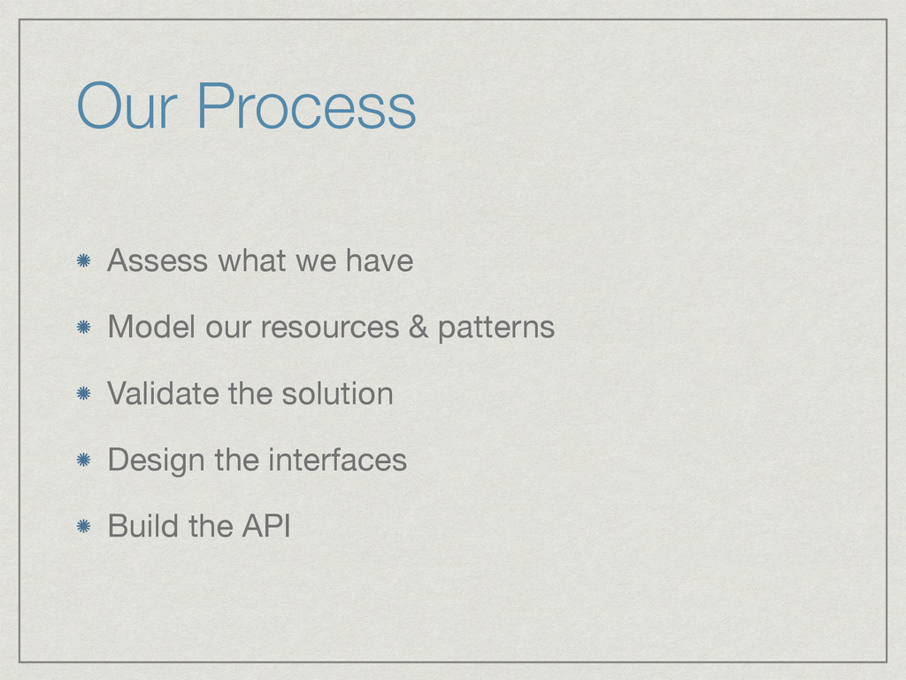 Our Process Assess what we have  Model our reso...
