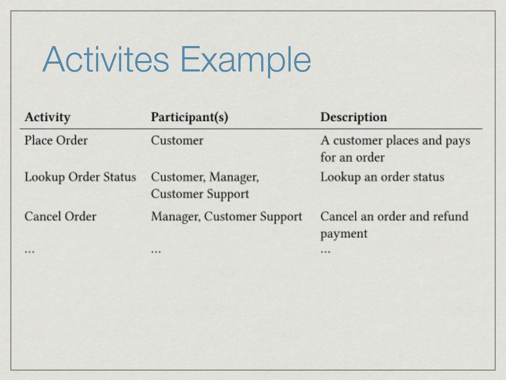 Activites Example