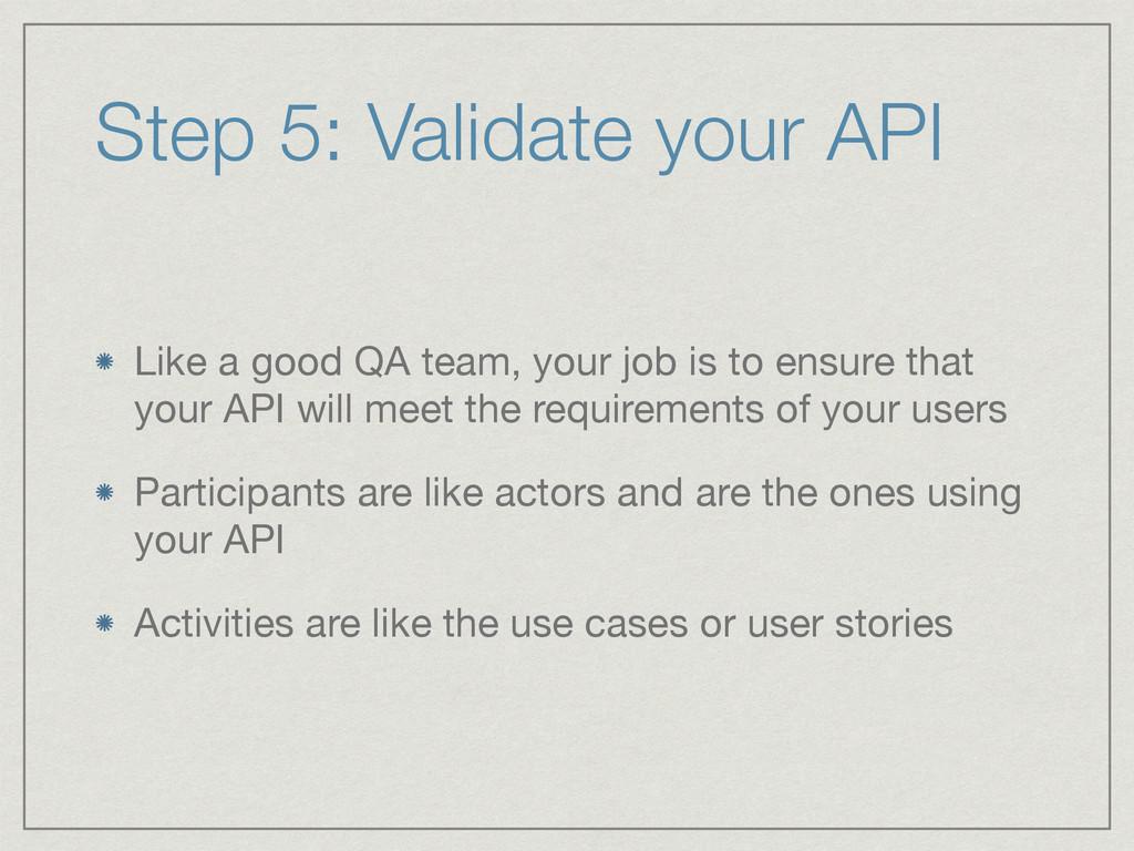 Step 5: Validate your API Like a good QA team, ...