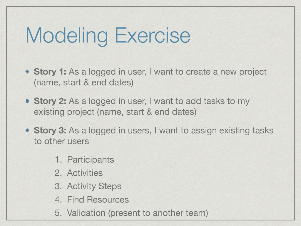 Modeling Exercise Story 1: As a logged in user,...
