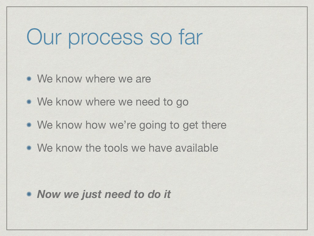 Our process so far We know where we are  We kno...