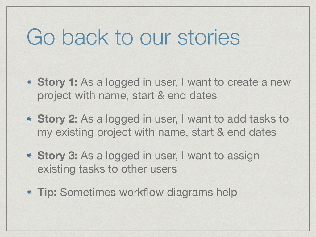 Go back to our stories Story 1: As a logged in ...