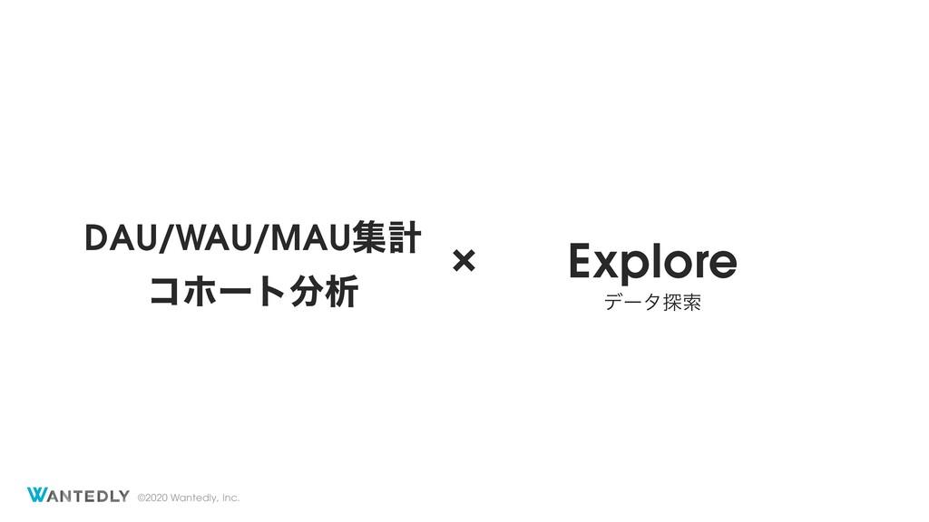 ©2020 Wantedly, Inc. × DAU/WAU/MAUूܭ Explore σʔ...