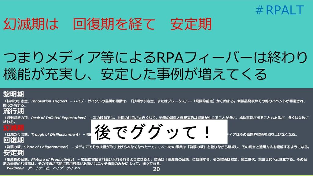 幻滅期は 回復期を経て 安定期 つまりメディア等によるRPAフィーバーは終わり 機能が充実し、...
