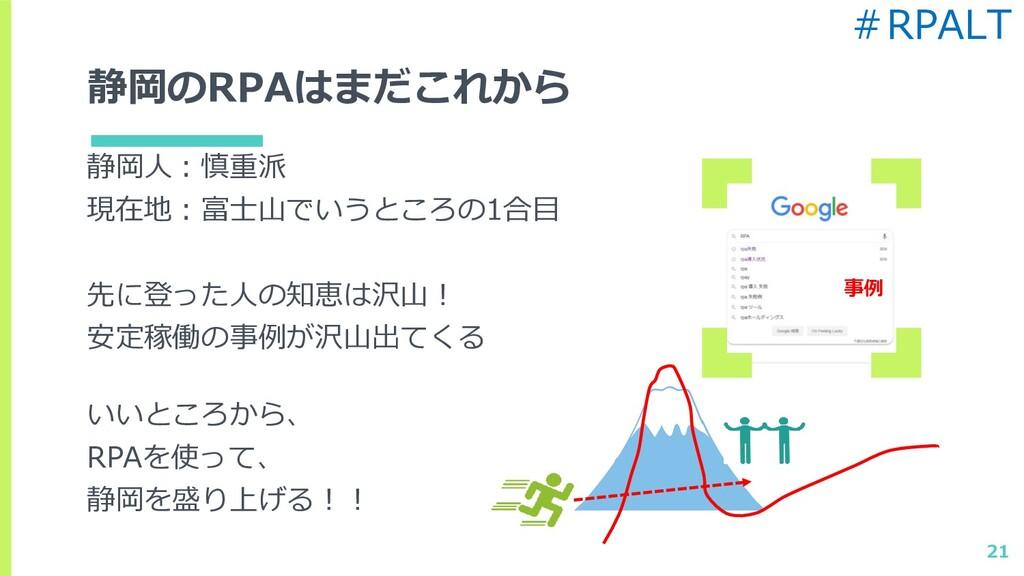 静岡のRPAはまだこれから 静岡人:慎重派 現在地:富士山でいうところの1合目 先に登った人の...
