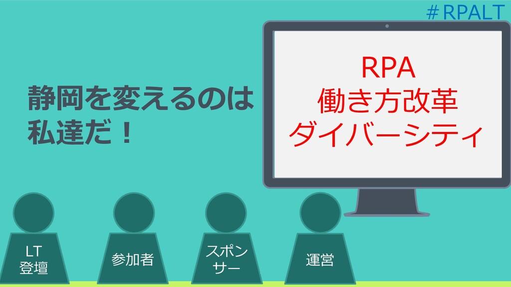 25 25 LT 登壇 参加者 スポン サー 運営 静岡を変えるのは 私達だ! RPA 働き方...