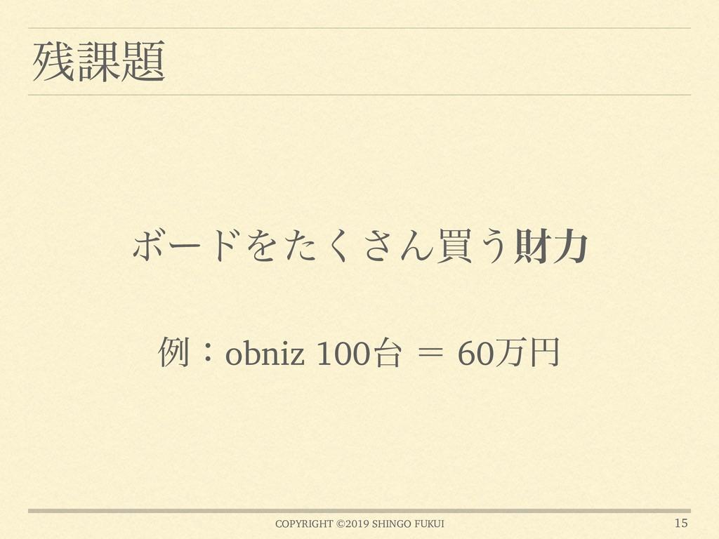 COPYRIGHT ©2019 SHINGO FUKUI ՝ 15 ྫɿobniz 100...
