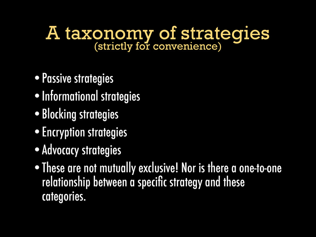 A taxonomy of strategies (strictly for convenie...
