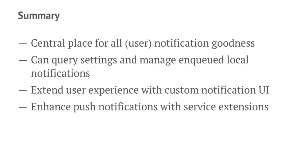 Summary — Central place for all (user) notifica...