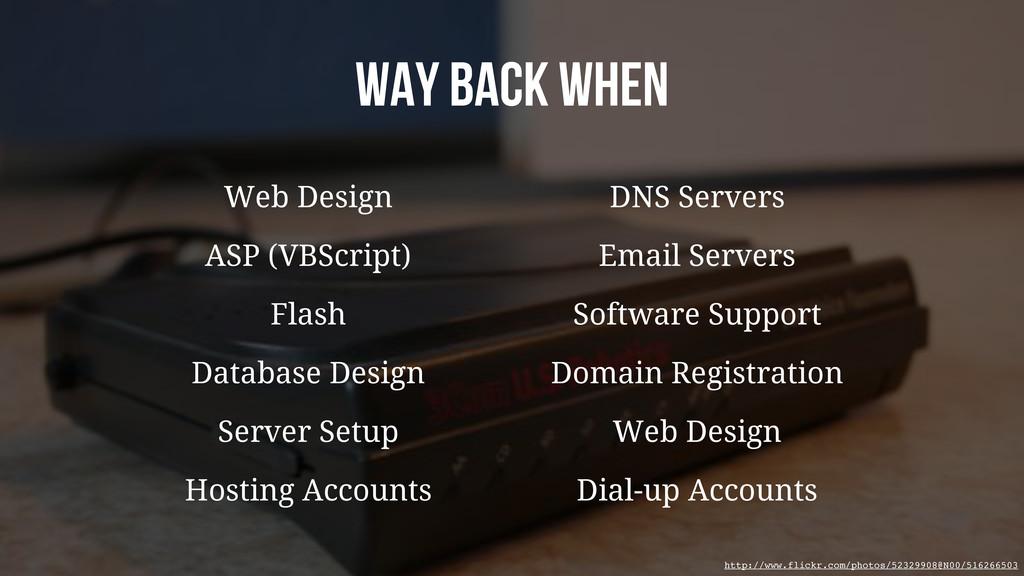 Way back when Web Design DNS Servers Flash Soft...