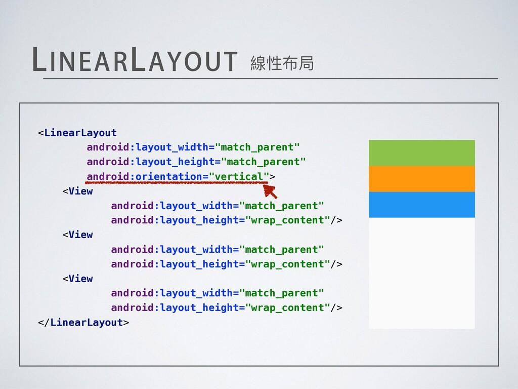 """-*/&""""3-"""":065 線性布局 <LinearLayout android:layout_..."""