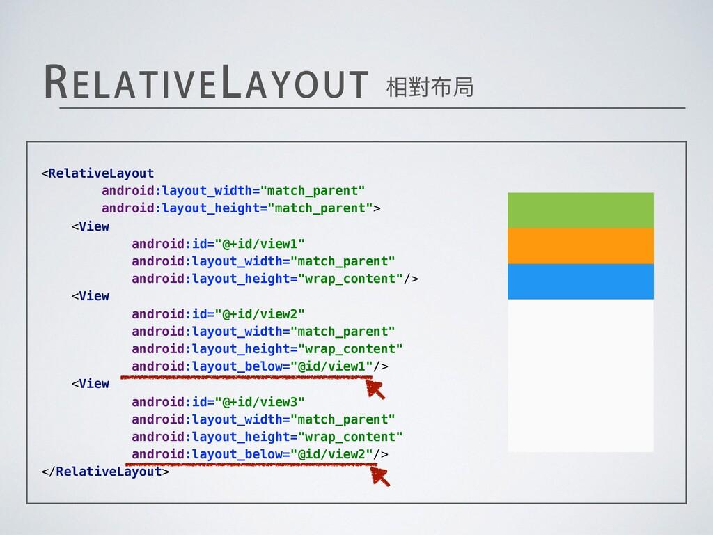 """3&-""""5*7&-"""":065 相對布局 <RelativeLayout android:lay..."""