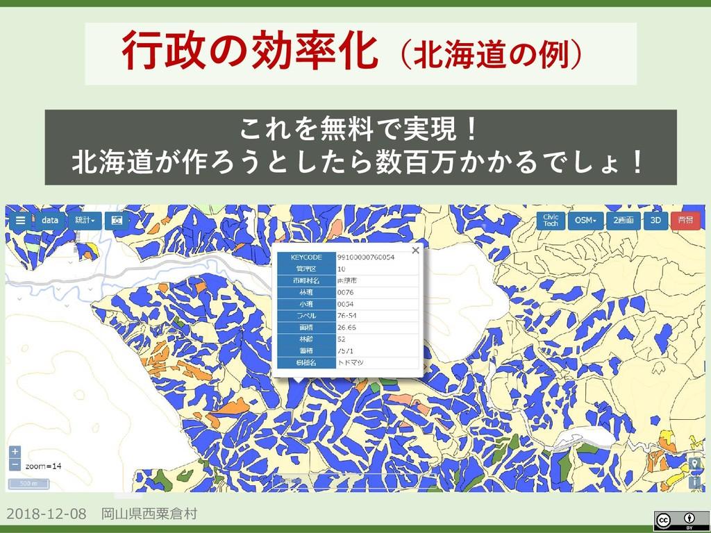 2018-12-08 岡山県西粟倉村 OpenData 行政の効率化(北海道の例) これを無料...