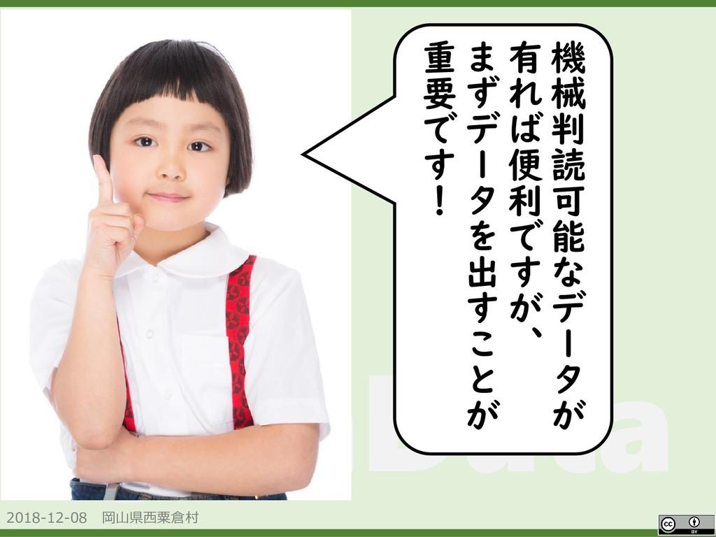 2018-12-08 岡山県西粟倉村 OpenData 機 械 判 読 可 能 な デ ー タ...