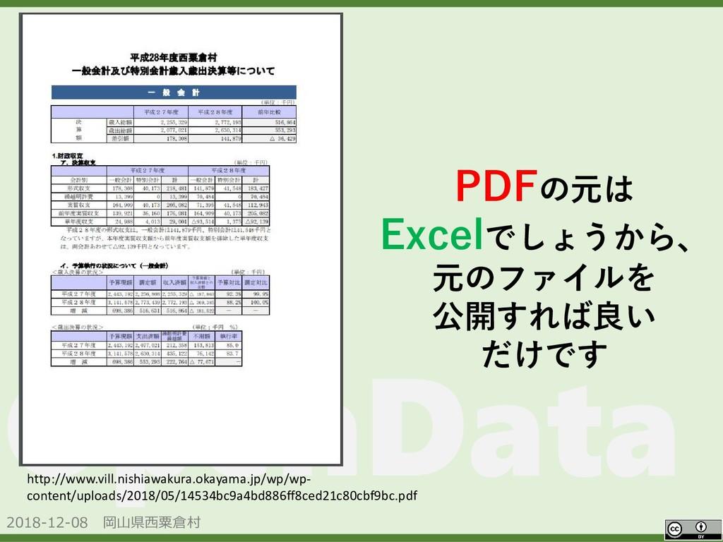 2018-12-08 岡山県西粟倉村 OpenData PDFの元は Excelでしょうから、...