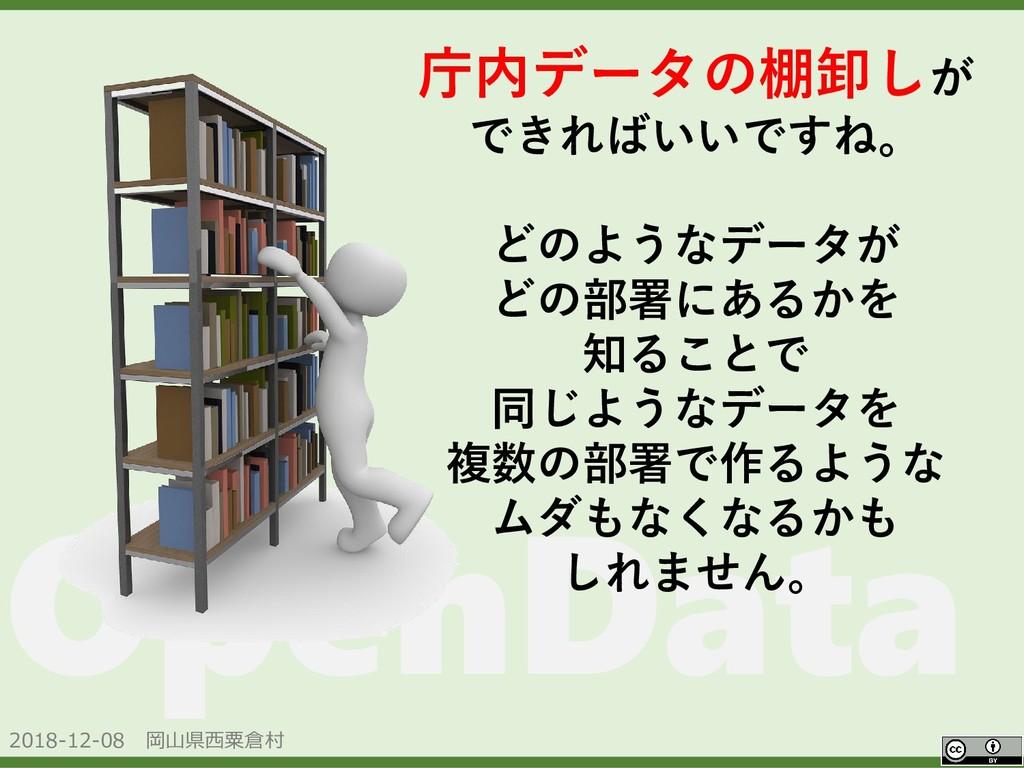 2018-12-08 岡山県西粟倉村 OpenData 庁内データの棚卸しが できればいいです...