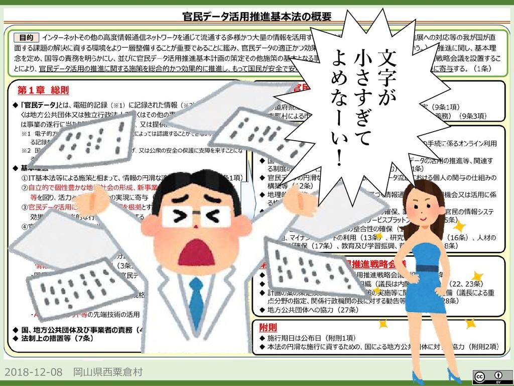 2018-12-08 岡山県西粟倉村 OpenData 文 字 が 小 さ す ぎ て よ め...
