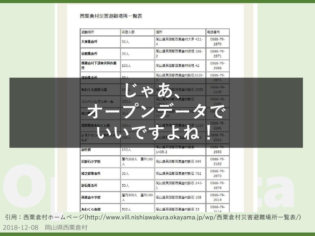 2018-12-08 岡山県西粟倉村 OpenData 引用:西粟倉村ホームページ(http:...