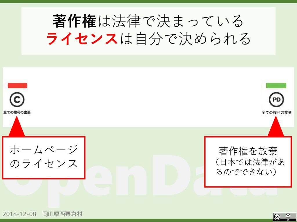2018-12-08 岡山県西粟倉村 OpenData 著作権は法律で決まっている ライセンス...