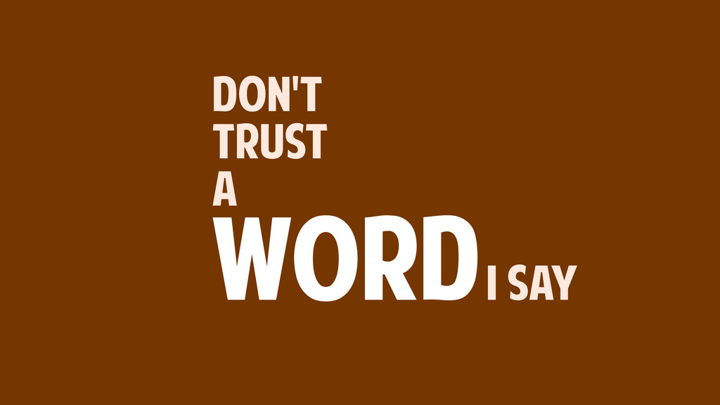 DON'T TRUST A WORDI SAY