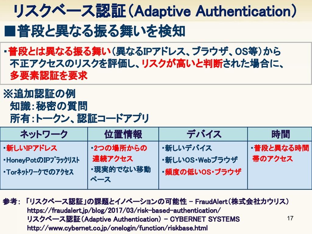 リスクベース認証(Adaptive Authentication) 17 ■普段と異なる振る舞...