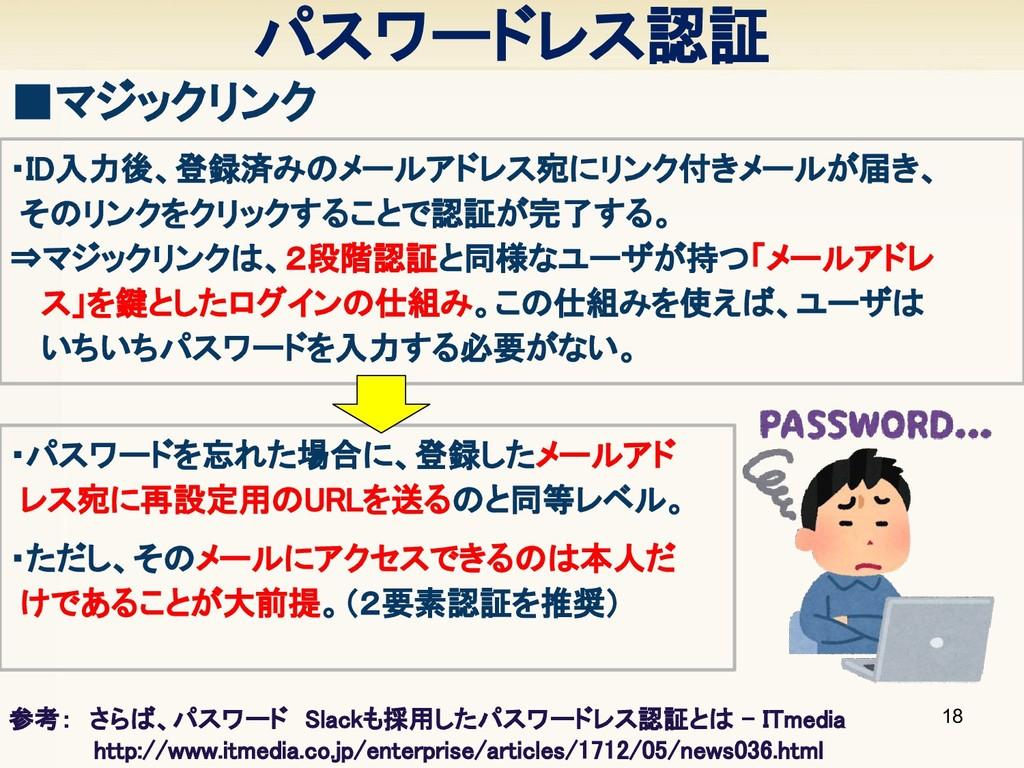パスワードレス認証 18 ■マジックリンク ・ID入力後、登録済みのメールアドレス宛にリンク付...
