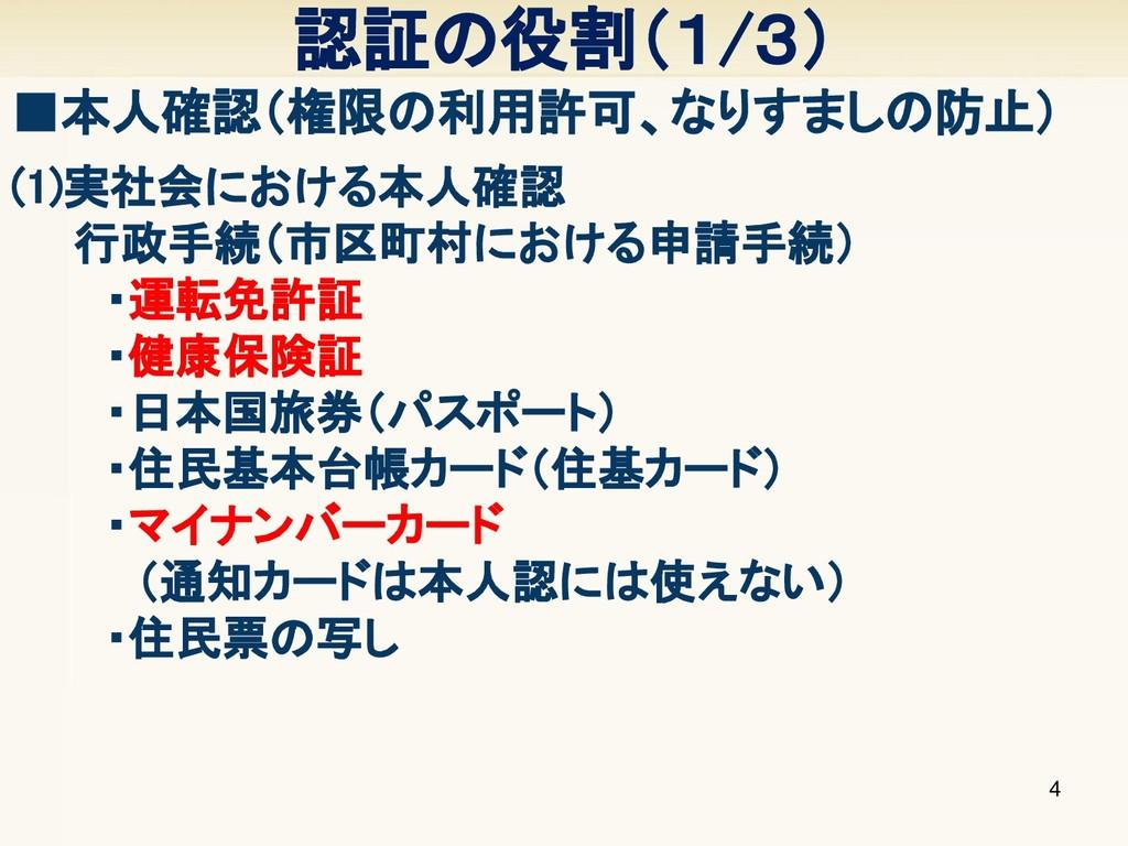 (1)実社会における本人確認   行政手続(市区町村における申請手続)    ・運転免許証  ...