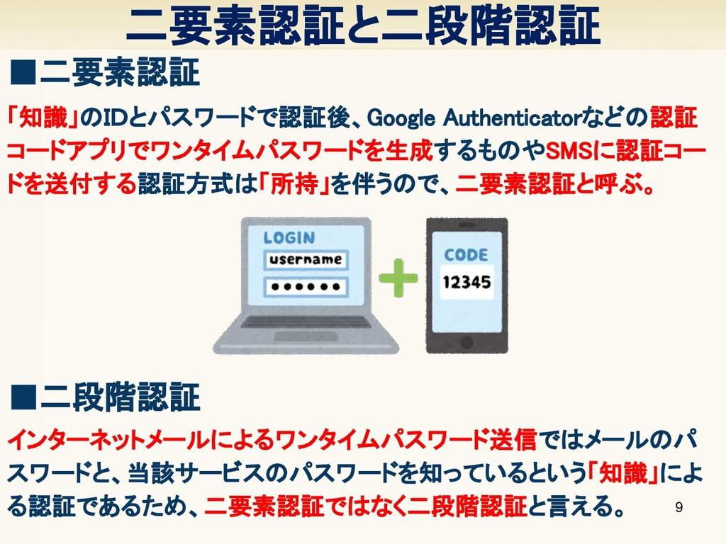 二要素認証と二段階認証 9 ■二要素認証 「知識」のIDとパスワードで認証後、Google A...