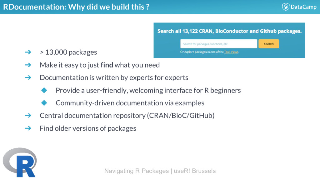 RDocumentation: Why did we build this ? ➔ > 13,...