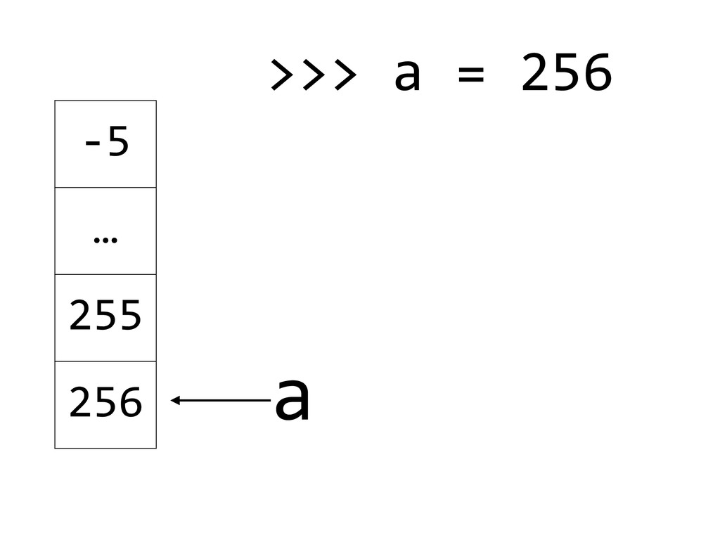 -‐5 … 255 256 a >>> a = 256  ! !