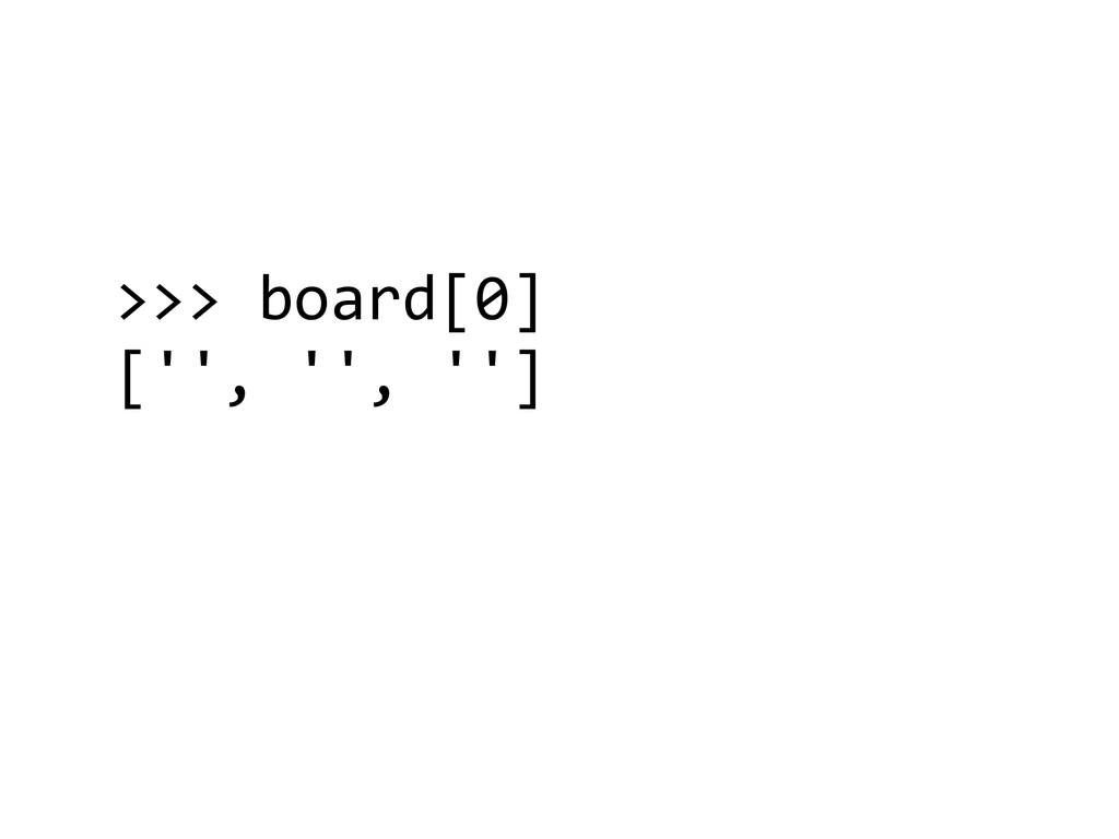>>> board[0]  ['', '', '']  !
