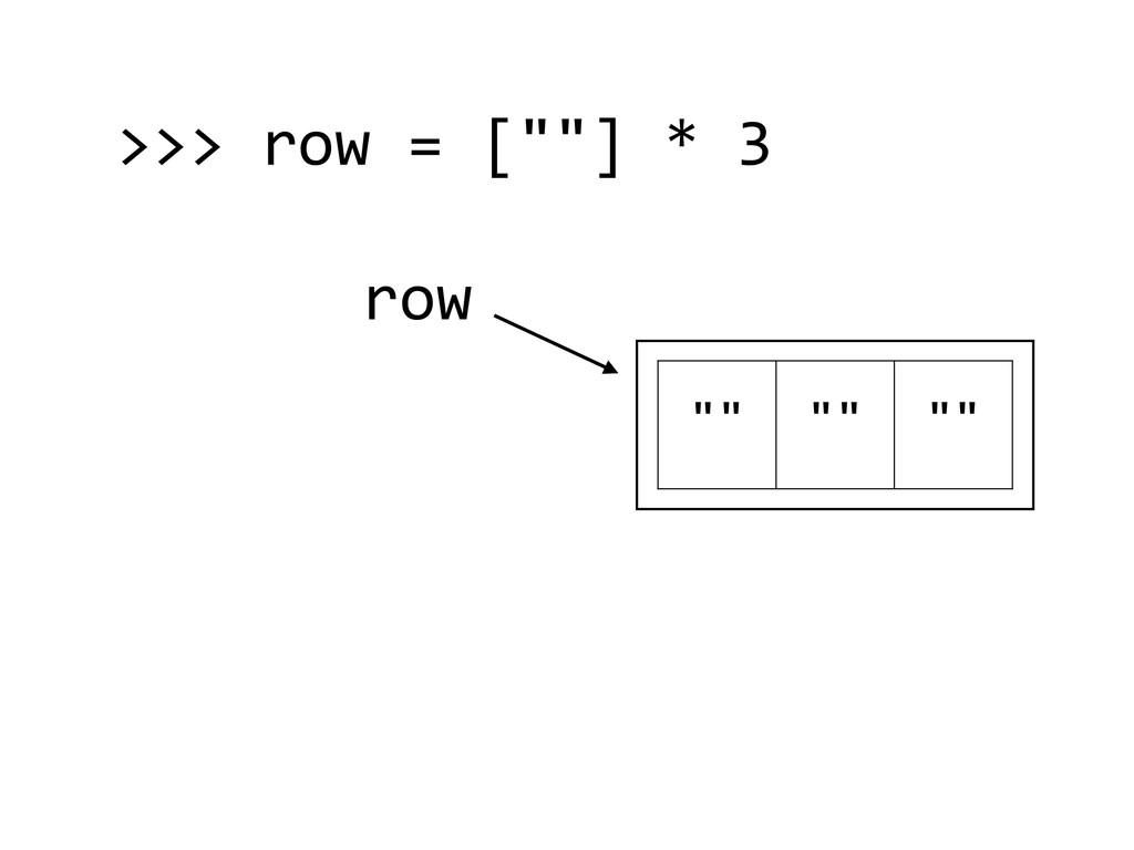 """row """""""" """""""" """""""" >>> row = [""""""""] * 3"""