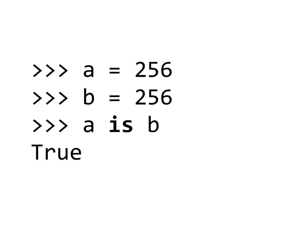 >>> a = 256  >>> b = 256...