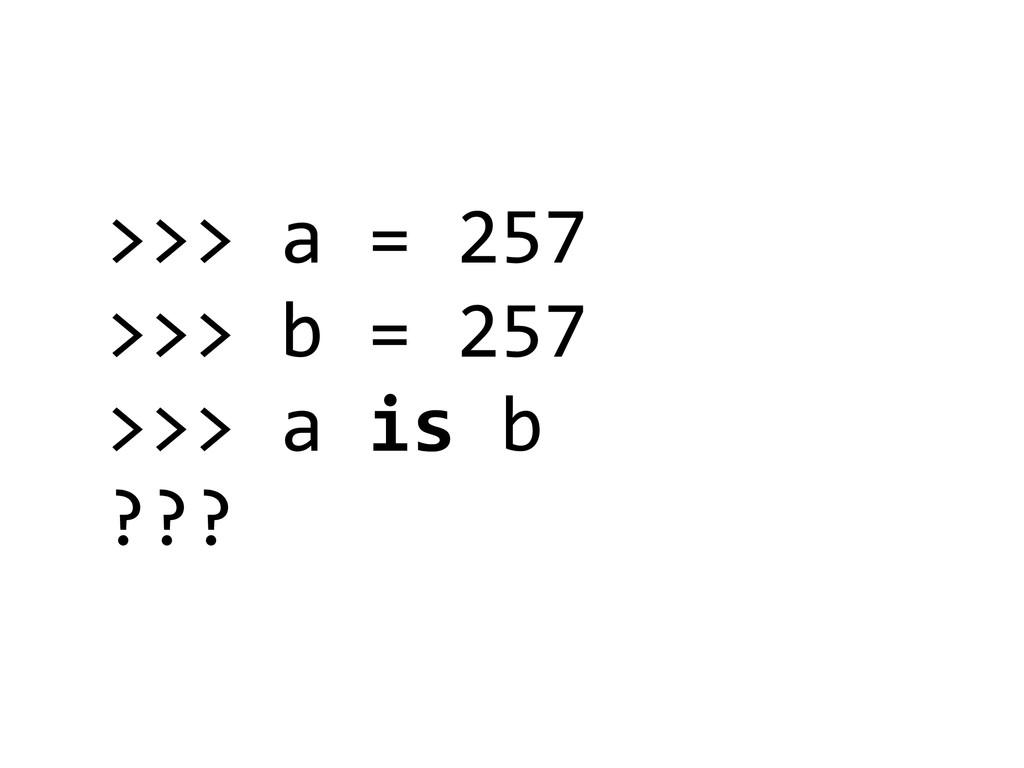 >>> a = 257  >>> b = 257...