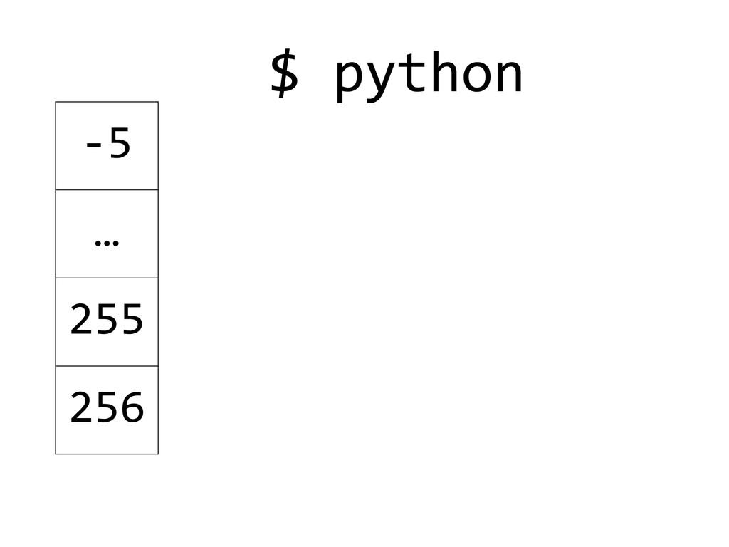 $ python  ! ! -‐5 … 255 256