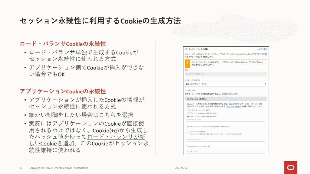 セッション永続性に利用するCookieの生成方法 31 ロード・バランサCookieの永続性 ...