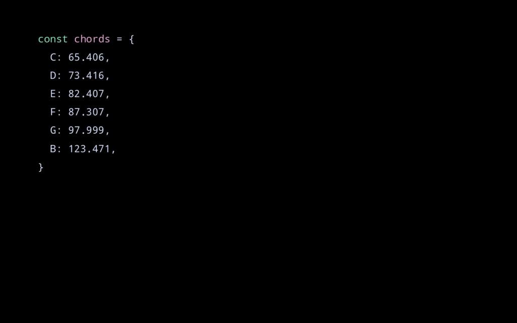 const chords = { C: 65.406, D: 73.416, E: 82.40...