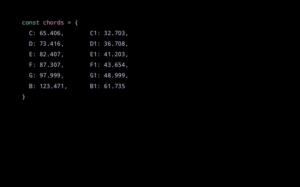 const chords = { C: 65.406, C1: 32.703, D: 73.4...