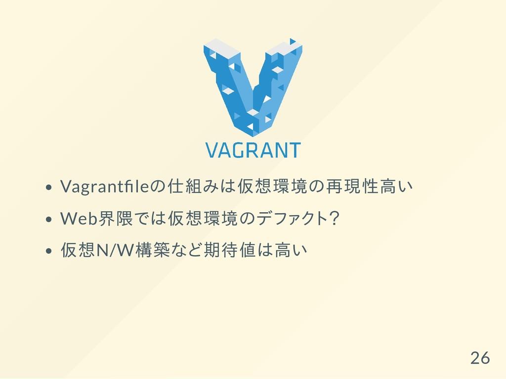 Vagrant leの仕組みは仮想環境の再現性高い Web界隈では仮想環境のデファクト? 仮想...