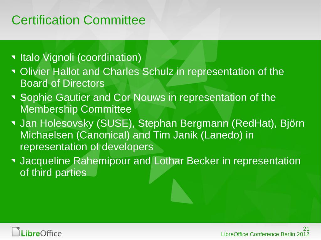 21 LibreOffice Conference Berlin 2012 Certifica...