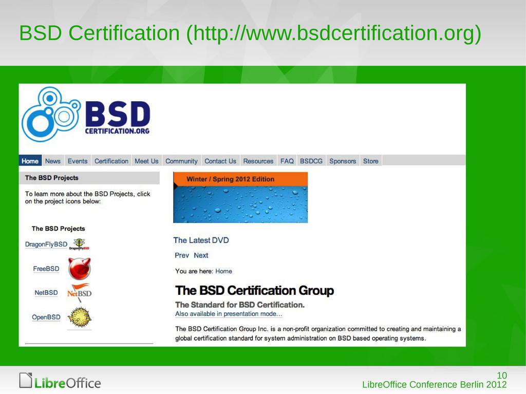 10 LibreOffice Conference Berlin 2012 BSD Certi...
