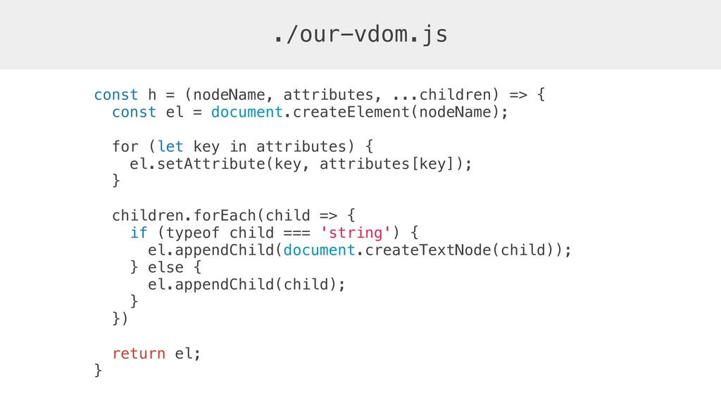 const h = (nodeName, attributes, ...children) =...