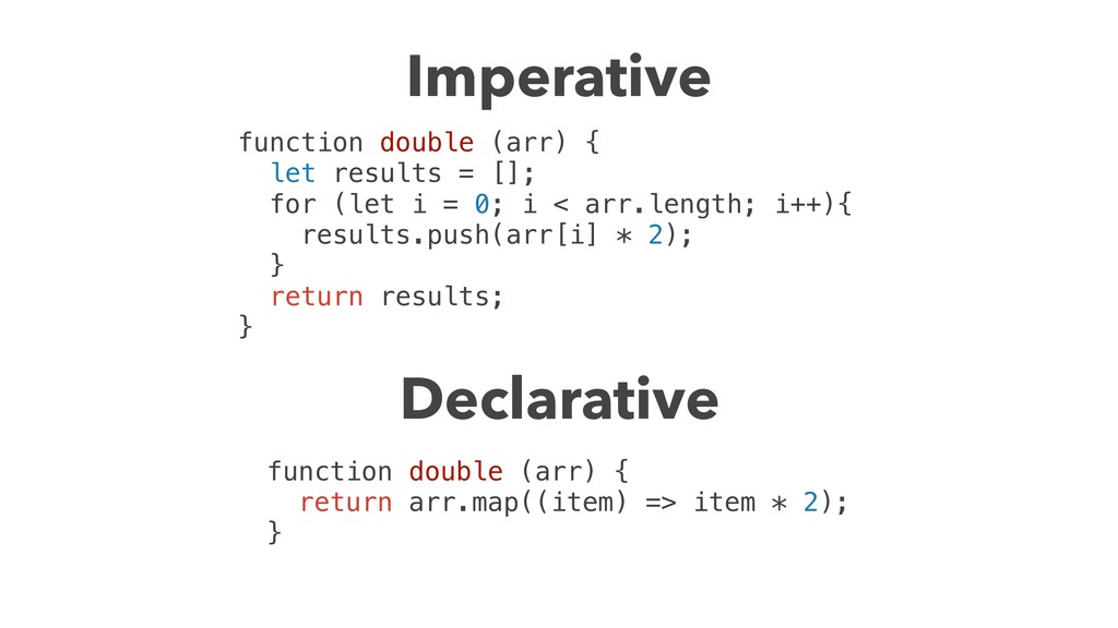 Imperative function double (arr) { let results ...