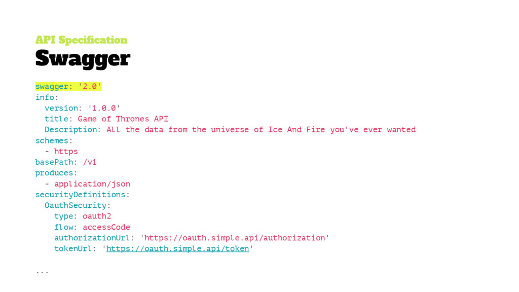 API Specification Swagger swagger: '2.0' info: ...