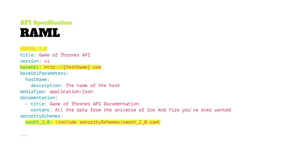 API Specification RAML #%RAML 1.0 title: Game o...