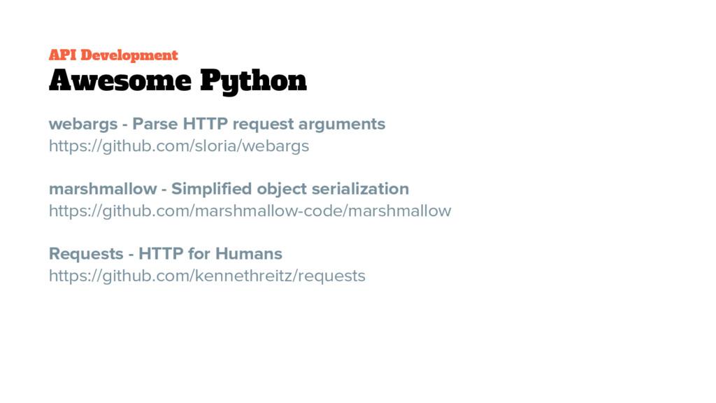 API Development Awesome Python webargs - Parse ...